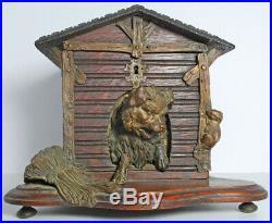 Antique Wood Cigar Black Forest Humidor Metal Dog House Mouse Rat Kennel