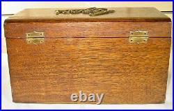 Antique Wood Cigar Humidor Box Metal Lined Metal Cigar On Top & Drawer