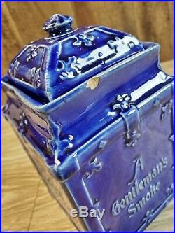 Antique Yale Mixture Blue Porcelain Humidor Jar Matching LID A Gentlemans Smoke
