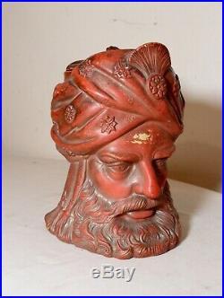 Antique figural Arabian painted terra-cotta pottery tobacco lidded jar humidor