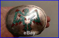 Antique old pawn Navajo 4.25 Sterling silver Thunderbird belt buckle turquoise