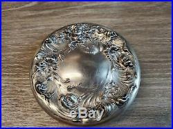 Art Nouveau Era Sterling Silver 925 & Cut Glass Cigar Executive Desk Top Humidor
