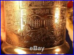 Beautiful Antique Reed & Barton Humidor Blue Boar Inn Lots Of Neat Details