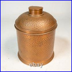 Beautiful Vintage Hammered Copper Cigar Humidor Container Revere Rome, NY USA