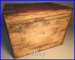 Benson & Hedges c1900 Tiger Oak Cigar Humidor Brass Inlaid Corners Side Handles