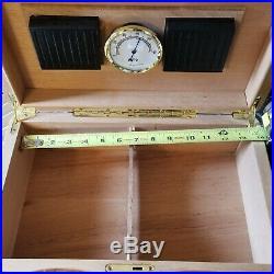 Birdseye Maple Burl Stylish Exterior Cigar Humidor High Gloss 2 Keys Gold Tone