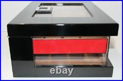 Black Lacquer Wood and Plexiglass cigar humidor 14.25L x 10 W x 5.5 H