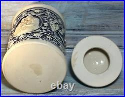 C. 1920 WickWerke Tobak 8 Cobalt Majolica Stoneware Humidor Tobacco Jar GERMAN