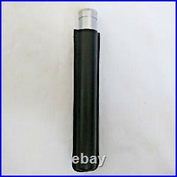Cigar Classics Travel Humidor Tube Silver Alum & Black Leather Holding Case