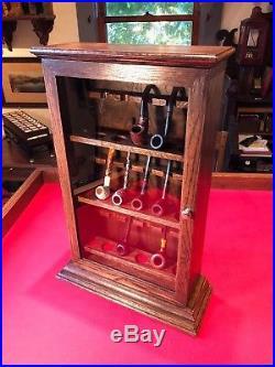 Custom Made Smoking Pipe Display Case Cabinet Oak Brass