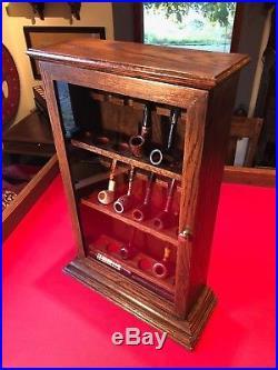 Custom Made Smoking Pipe Display Case Cabinet Oak Brass BEAUTIFUL