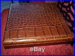DAVIDOFF croc leather 9 1/4 X 9 1/4 hand made in SWITZERLAND CIGAR HUMIDOR