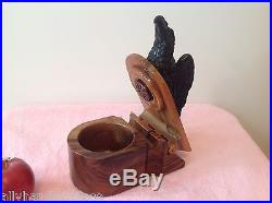 DUNHILL Wood Box Humidor Figural Pipe Rest Americanna Eagle