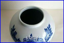 Delft Large Toeback Jar Tobacco Jar Brass LID 12.6 Inches