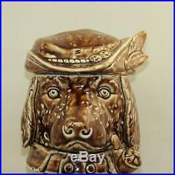 Dog Humidor with Pipe and Hat Antique Yellow Ware Rockingham Figural Labrador
