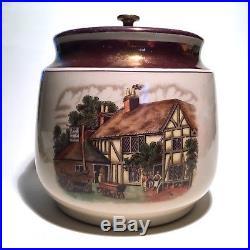 Dunhill Vintage Ceramic tobacco jar Humidor Building scene Copper Lock 1940's