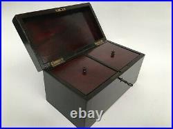 Edwardian Tobacco Cigar Humidor / Tea Caddy Wood Box with2 Compartments & Key