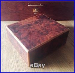 Elie Bleu Humidor, wunderschöner Zustand, Wurzelholz, perfekt für 50-75 Zigarren