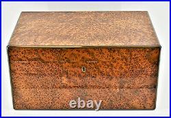 Elie Bleu Walnut Burl 300 Cigar Humidor 2 Trays, Dividers, 4 Cedar Layers