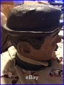 FIGURAL TOBACCO JAR, Man With Mustache