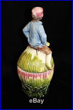 Figural Majolica Black Americana Boy on Watermelon Tobacco Jar Humidor