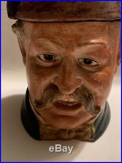 Figural Man With Fez Hat Tobacco Jar Antique Czech Bernard Bloch 8205 RARE