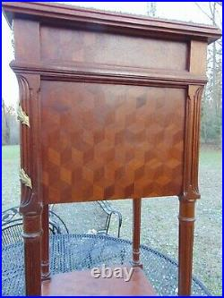 French Parquetry Bronze Ormolu Humidor Tobacco Box Side Table Stand