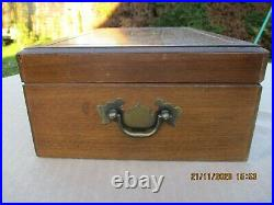 French Vintage Wood&brass Large Cigar Box&cigar Cutter Humidor Thermometer G G