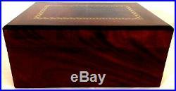 GENTILI CIGAR HUMIDOR. Inlaid Mahogany Exterior. Cedar lined. 40 count capacity