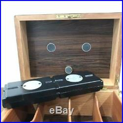 Gino Davidoff Humidor Cigarette Case wood brown box tobacco key lock used