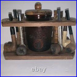 Glass Humidor With 10 Pipe Stand And 10 Pipes