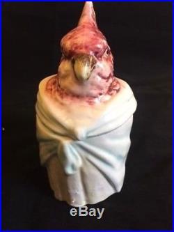 Glazed austrian majolica humidor cockatoo head top signature marks bottom 6 inch