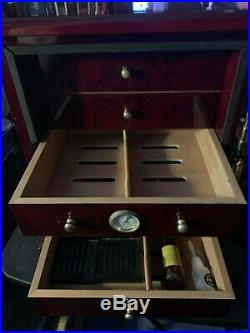 Gorgeous Cigar Burl Wood Humidor With 5 Drawers and Keys, Humidifier
