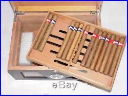 Großer Humidor mit Hygrometer und Befeuchter Schwarzer Klavierlack
