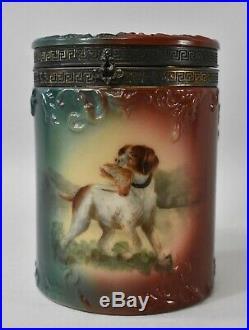 Handel Ware Porcelain Hunting Bird Dog Cigar Humidor