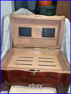Hi-Gloss Birch Cherry Wood Finish Cigar 110 Count Humidor With Drawer