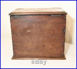 High quality antique handmade wood brass cigar tobacco humidor box case stand