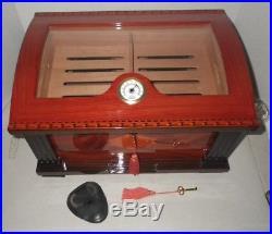 Huge Ornate Thompson 1915 Cherrywood Cigar Tobacco Humidor with Keys & Cutter