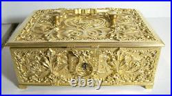 Humidor Ornate Brass Box Antique / Vintage Germany
