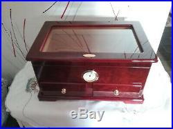 Humipouros (grosser Zigarren Humidor) Glasdeckel 2 Schubladen Hygrometer