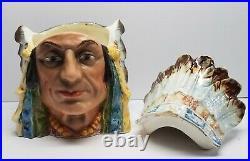 Indian Chief Headdress Majolica Humidor Art Pottery Ceramic Lidded Tobacco Jar
