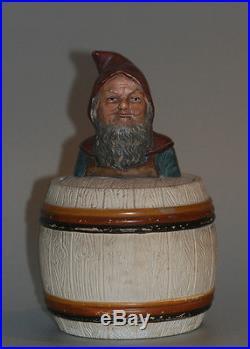 JOHANN MARESCH TOBACCO JAR w. DWARFS BUST, c. 1900