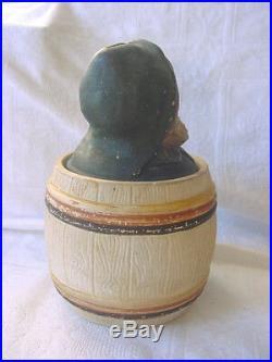 Johann MARESCH Czech TOBACCO Humidor JAR Figural SAILOR Barrel Vintage ANTIQUE