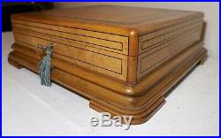 LARGE antique handmade Partagas table top burl wood marquetry cigar box humidor