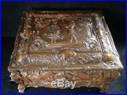 Large Locking Antique Relief Carved Walnut cedar veneer lined Cigar Humidor Box