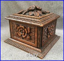 Large antique german black forest cigar cellar humidor mid-1900's woodwork 4lb