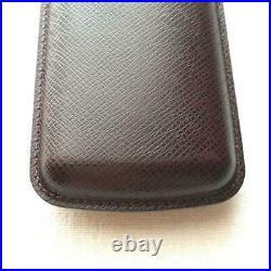 Louis Vuitton Taiga Cigar Tobacco Case Humidor Dark Brown 16.5x7.5cm Pre-owned