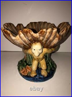 Majolica Centerpiece Monkey Footed Pedestal Dish Antique Victorian