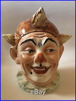 Majolica Clown Figural Tobacco Jar Humidor Antique 1900s