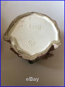 Majolica Owl With Bonnet Humidor Tobacco Jar Vintage Antique Germany Rare